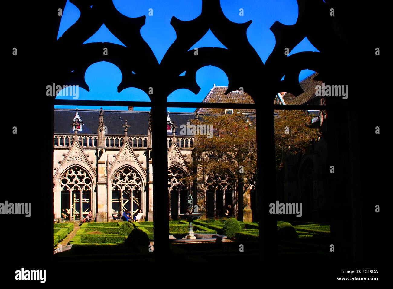 Holland-Utrecht- 'Pandhof van de Dom' (closter of the cathedrale).Utrecht is the capital and most populous - Stock Image