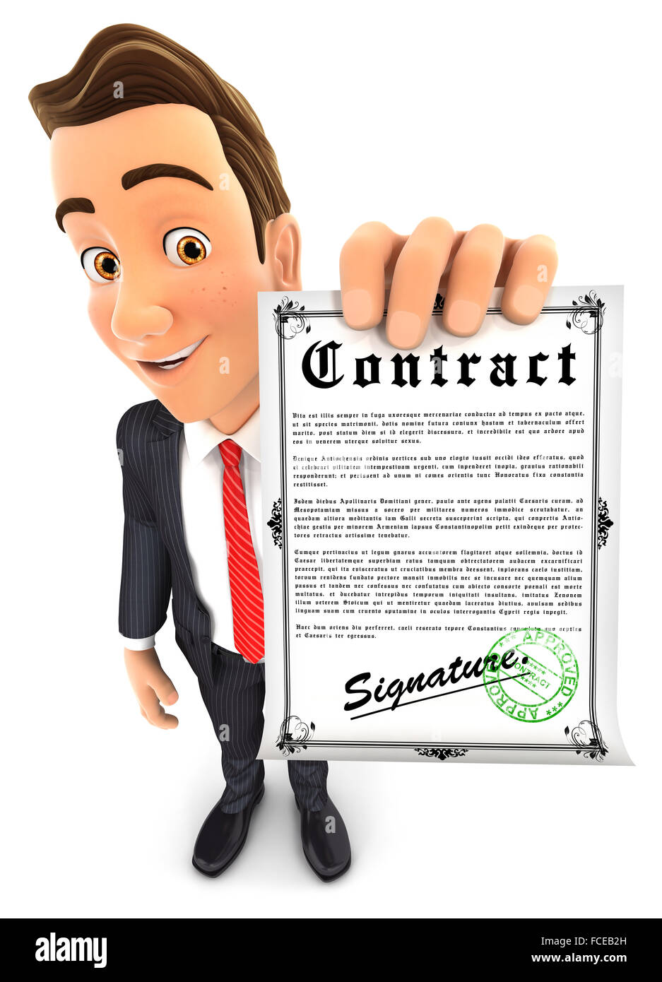 3d businessman holding signed contract, isolated white background Stock Photo