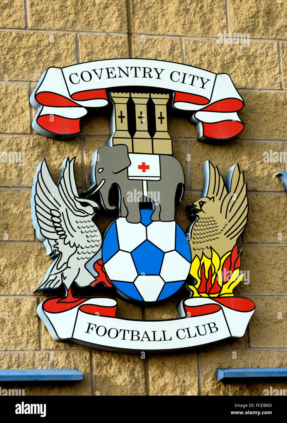 Coventry City Football Club badge at the Ricoh Arena, Coventry, UK - Stock Image