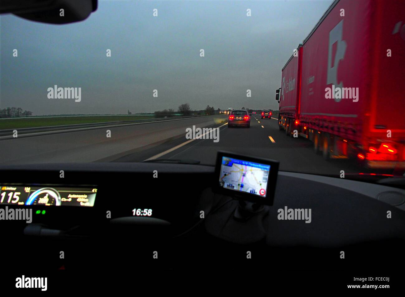 Driving on the AI near Roye, Picardy, France - Stock Image