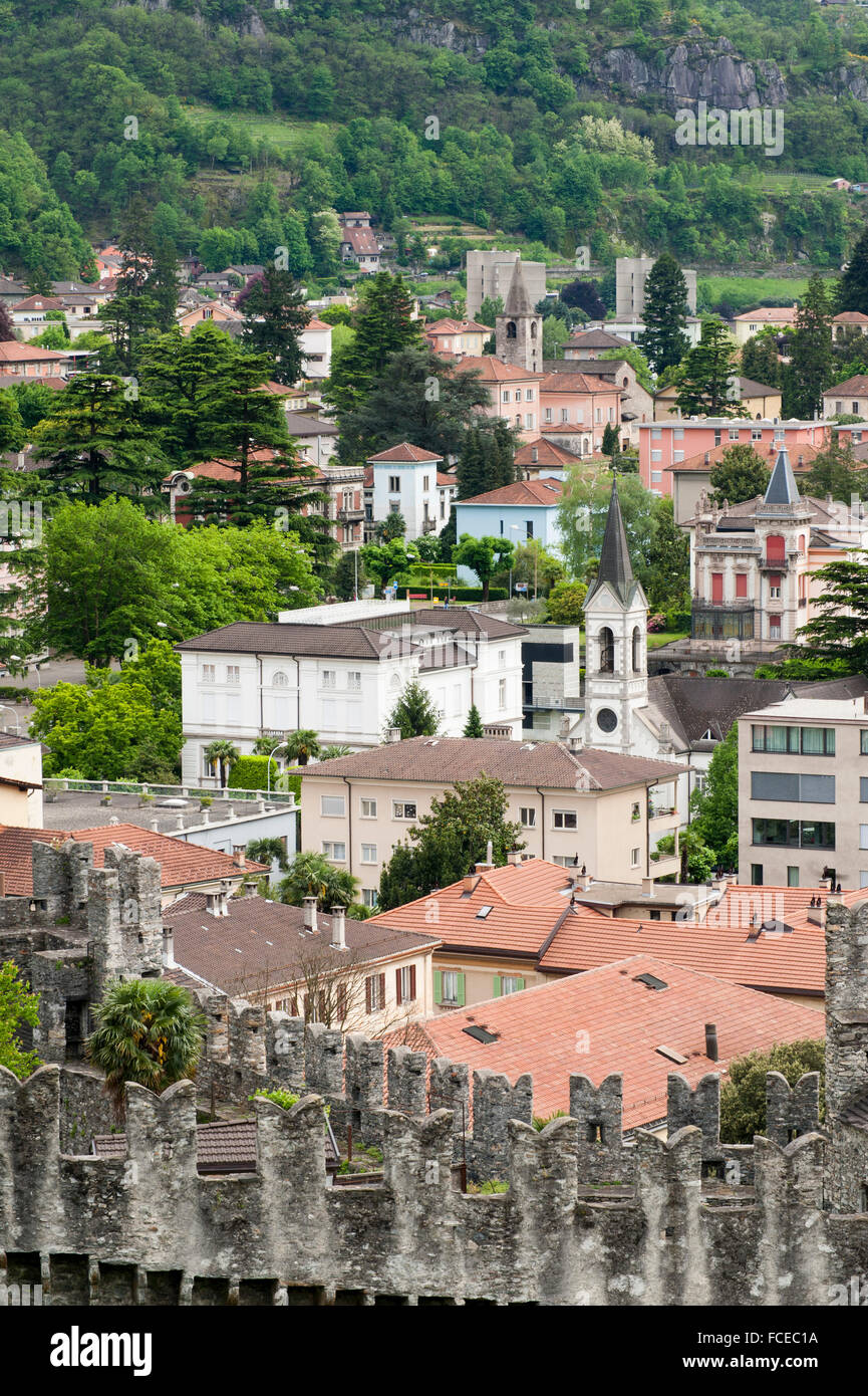 View from Castelgrande to old town, UNESCO World Heritage Site Three Castles, fortresses and ramparts of Bellinzona, Stock Photo