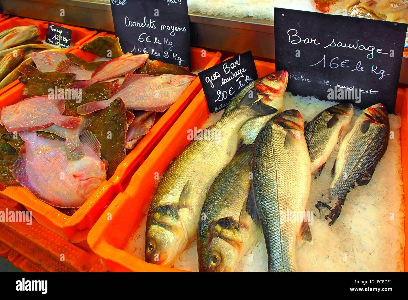 Fish market at Le Treport, Seine-Maritime, Upper Normandy, France - Stock Image