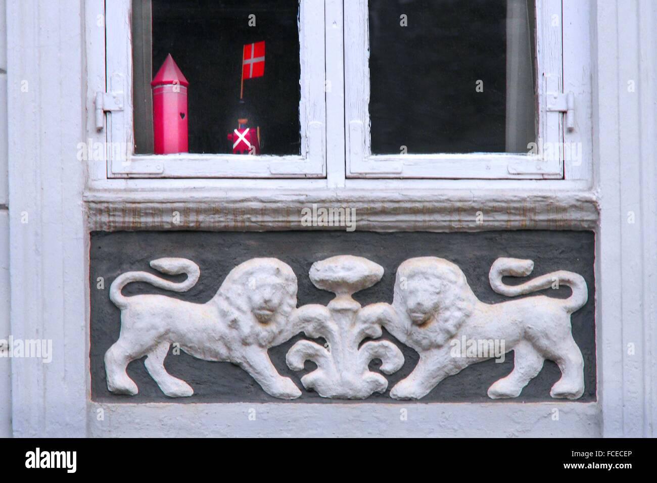 Danish private home window, Koge, Sjælland, Denmark - Stock Image