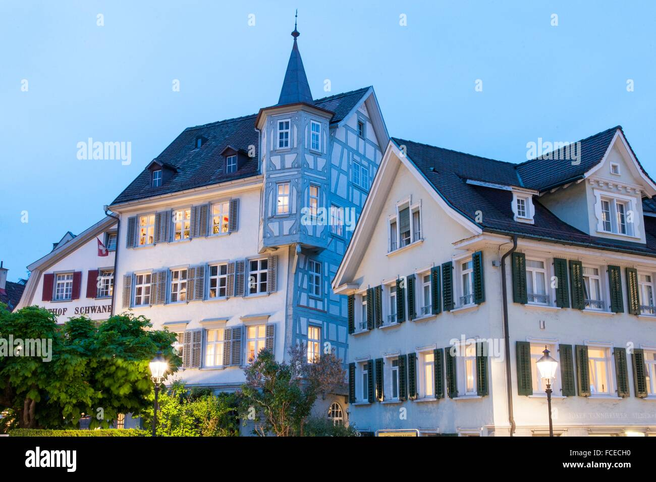 old town and Cathedral, Dusk, Old Town of St. Gallen, Canton of St. Gallen, Switzerland - Stock Image