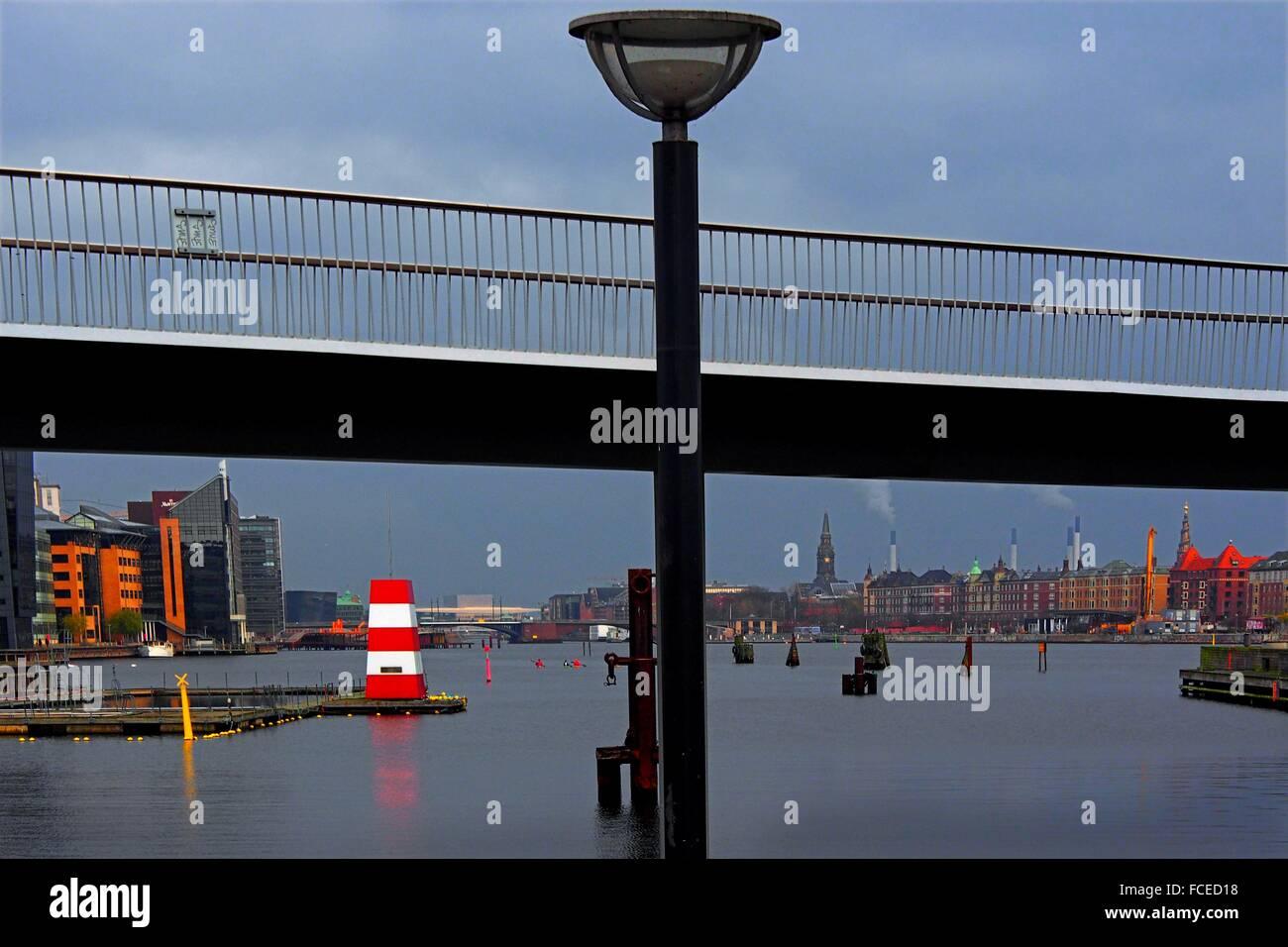 Harbour area from Fisketorvet, Copenhagen, Sjælland, Denmark - Stock Image