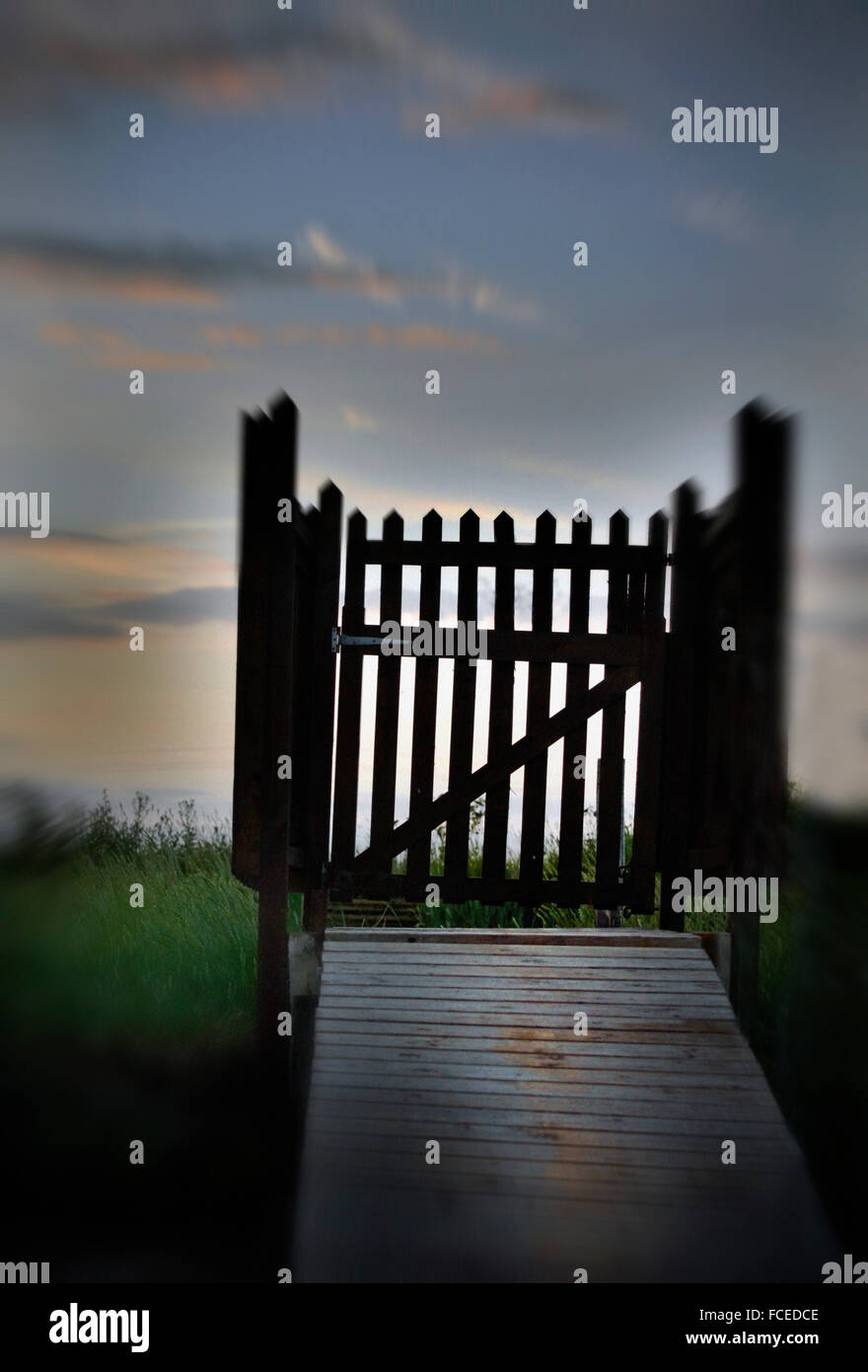 wooden entry gate - Stock Image