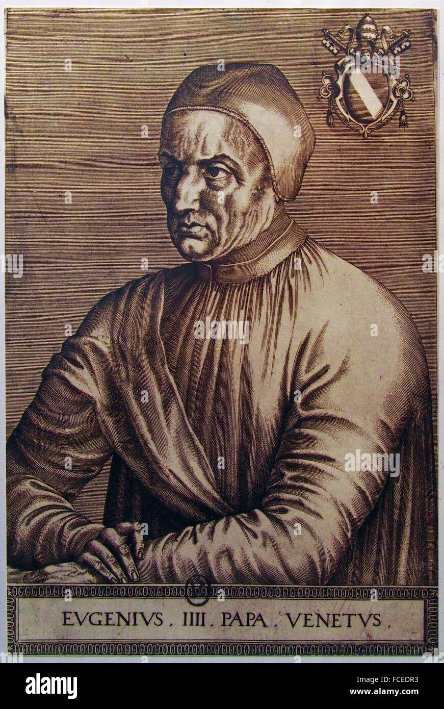 Portrait of Pope Eugenius IV, after Jean Fouquet. - Stock Image