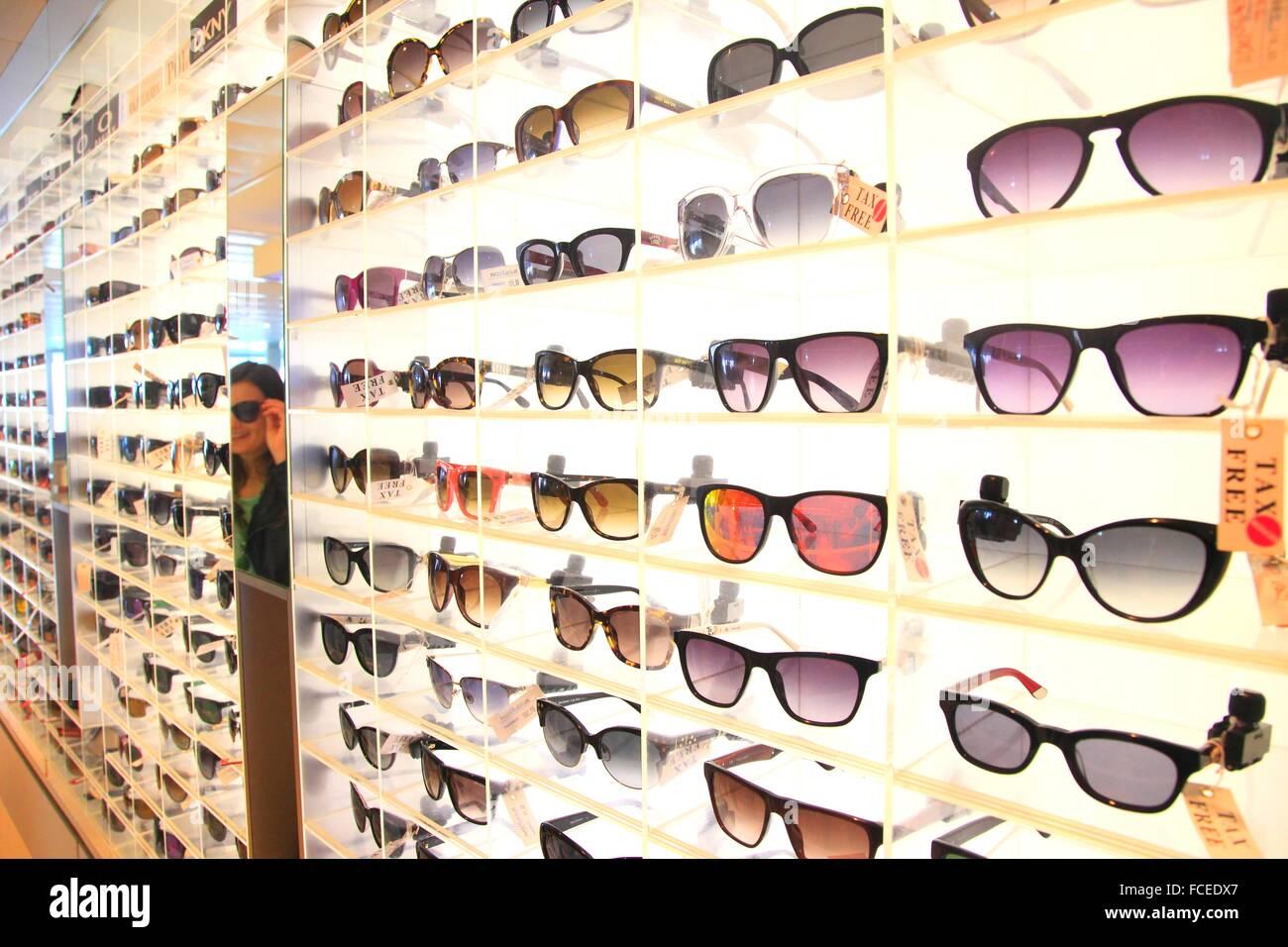 Optician, sunglasses - Stock Image