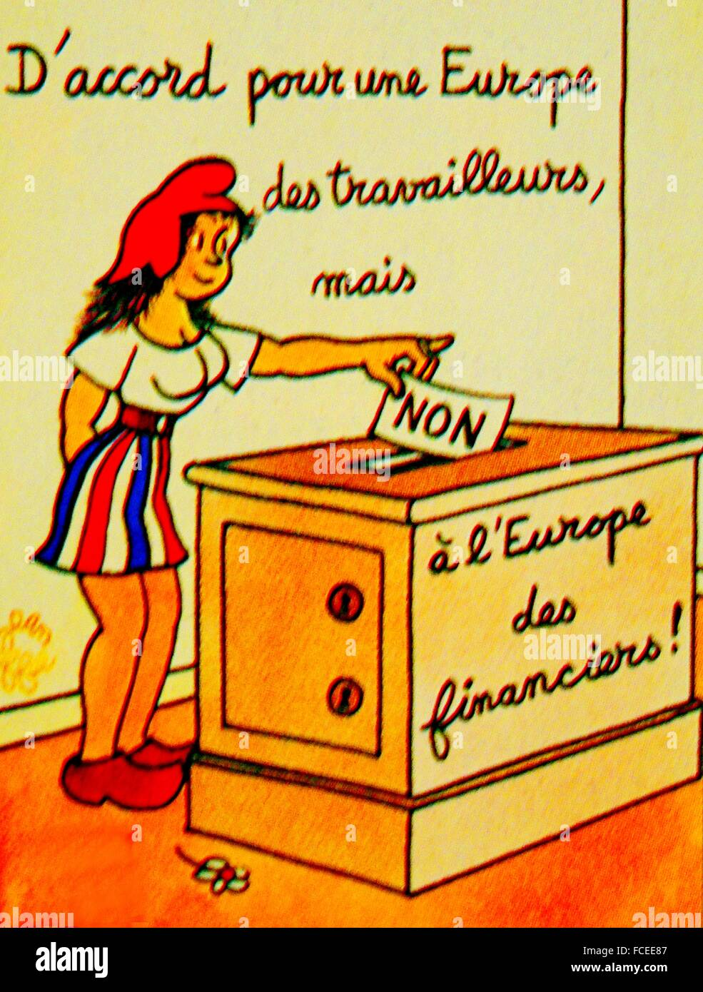 France.  Poster by Jean Effel, 1972, about EC election. (Ok, for a Europe of workers, but No for the Europe of bankers.). - Stock Image