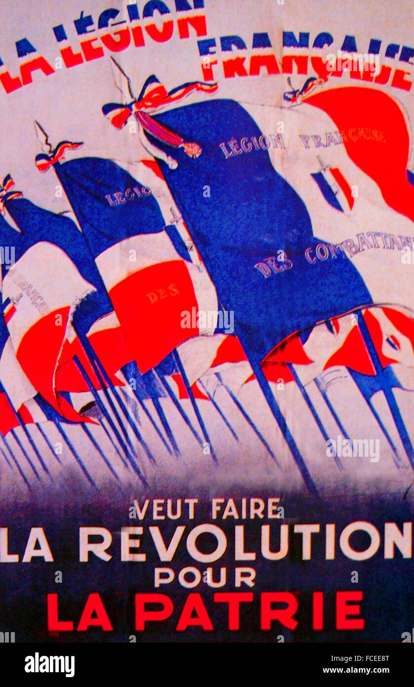 France.  World War II- Poster by A. Galland, 1940, celebrating the 'Légion française des combattants'. - Stock Image
