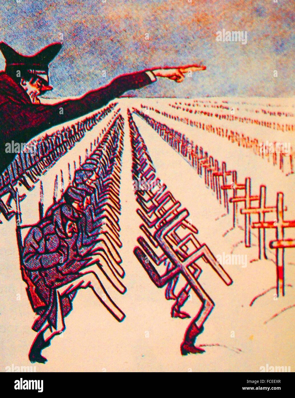 USSR- World War II- Soviet caricature, 1943, of Hiltler sending soldiers to USSR. - Stock Image