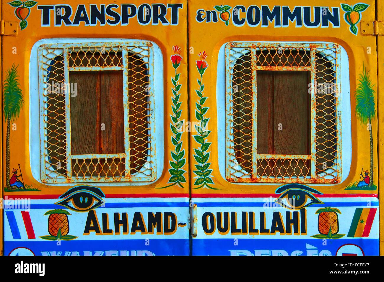 Back of a ´wakeur´ (kind of minibus) at Dakar, with a praise of God in Arabic (Alhamd-oulillah), Senegal - Stock Image