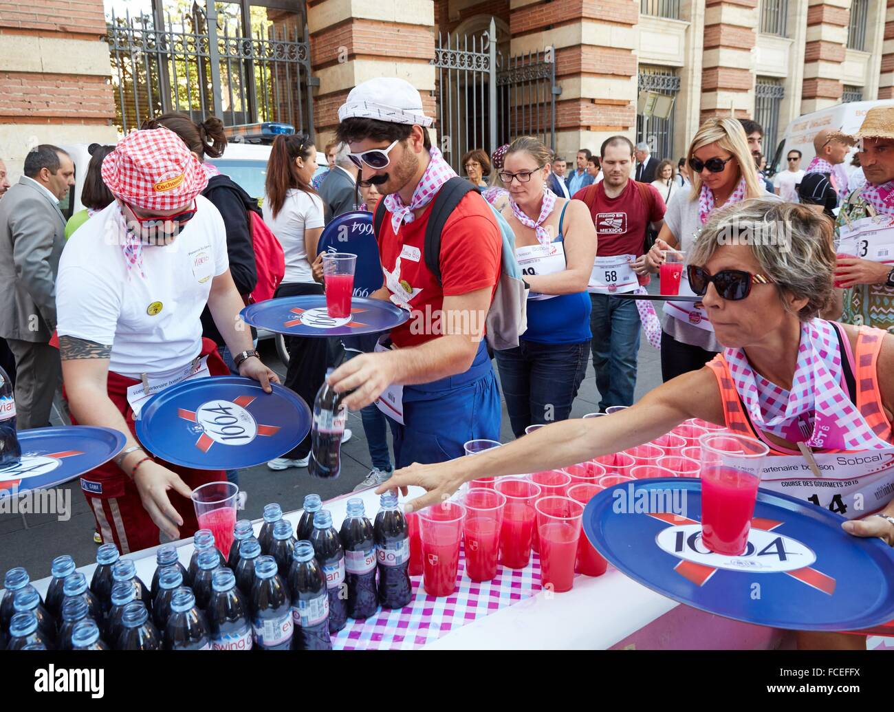 Waiters sporting event. Toulouse. Haute Garonne. France. - Stock Image
