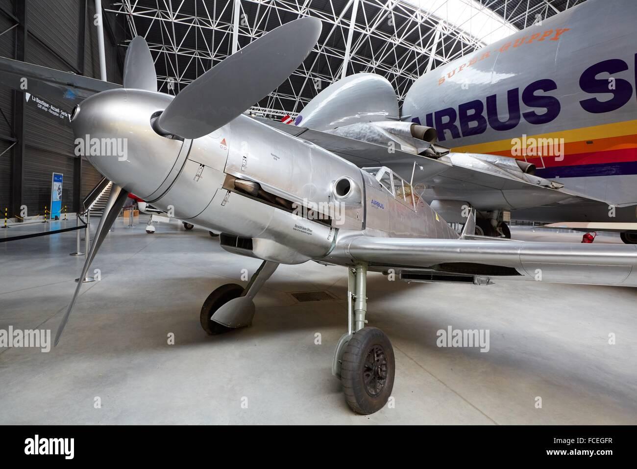 Messerschmitt Bf 109 and Super Guppy SGT aircraft. Aeroscopia. Aeronautical Museum. Toulouse. Haute Garonne. France. - Stock Image