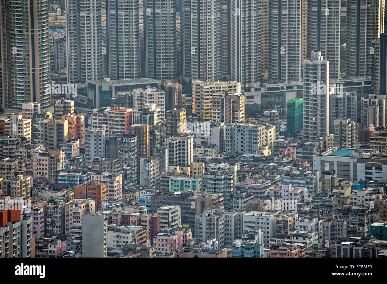 Hong Kong cityscape, crowd buildings at day Stock Photo