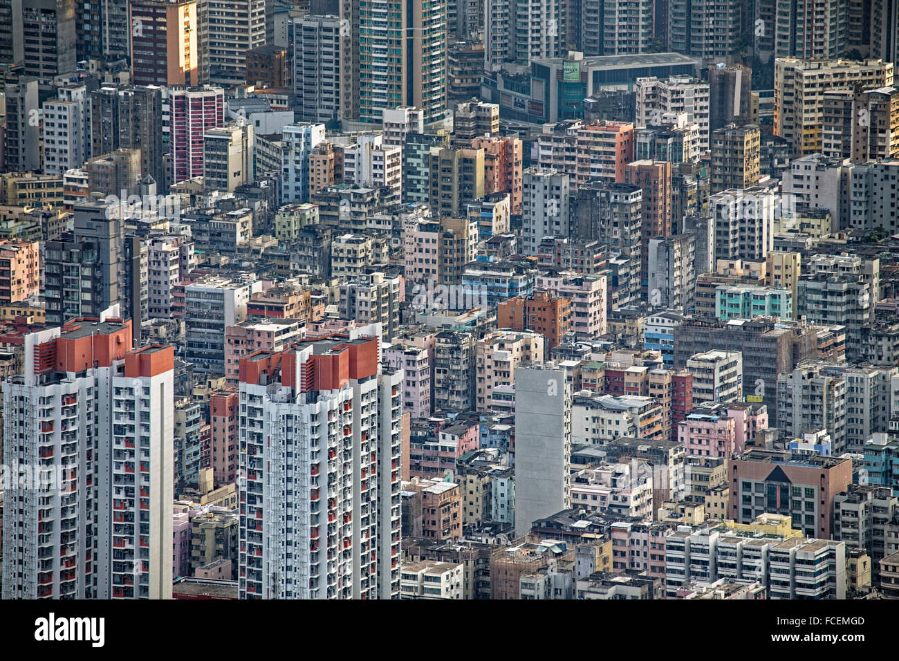 Hong Kong cityscape, crowd buildings at day - Stock Image