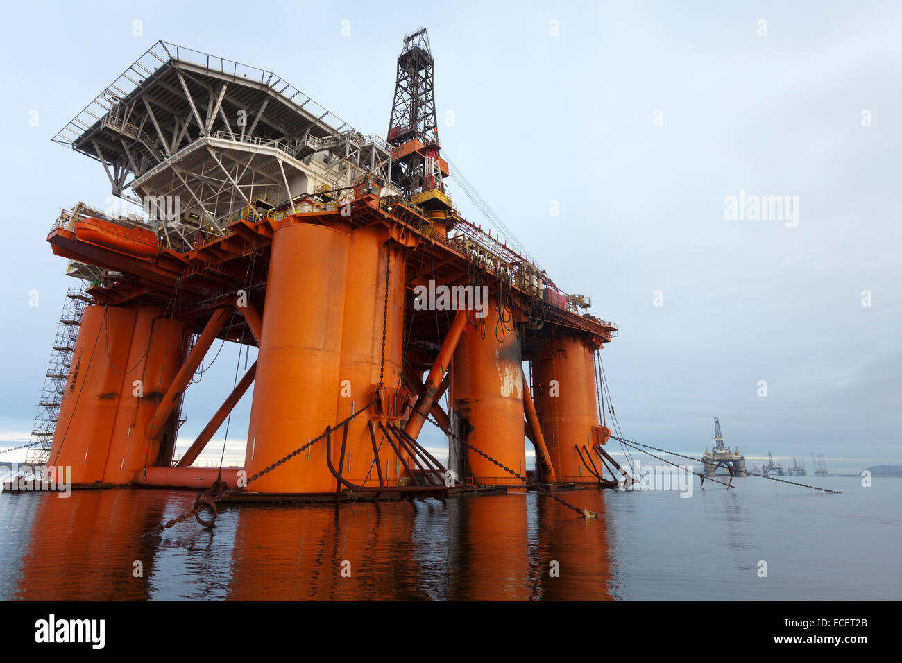 Oil rigs in the Cromarty Firth, Scotland - Stock Image