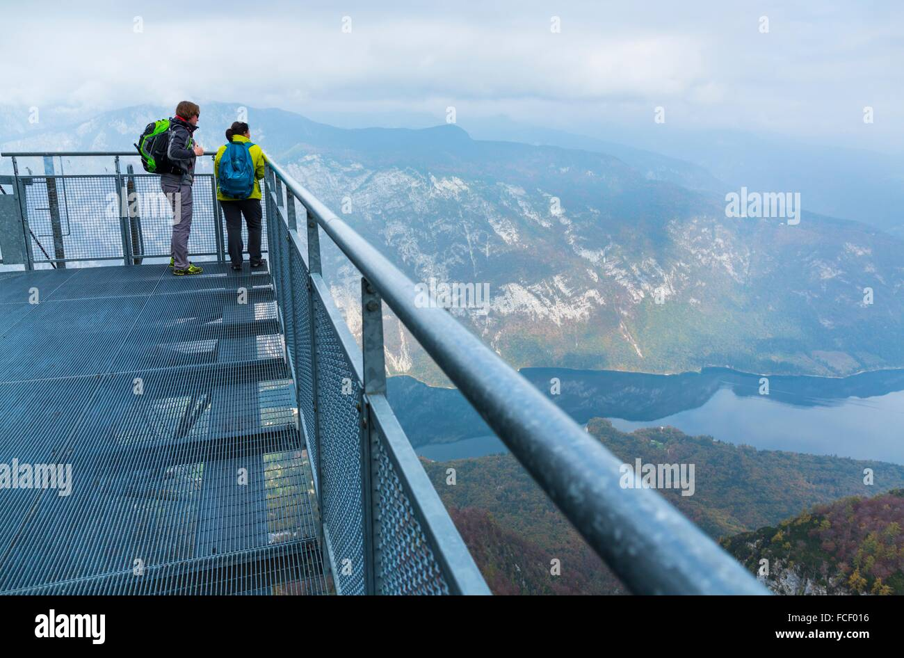 Cable car from Lake Bohinj to a height of 1537 m, Triglav National Park, Julian Alps, Municipality of Bohinj, Slovenia, - Stock Image