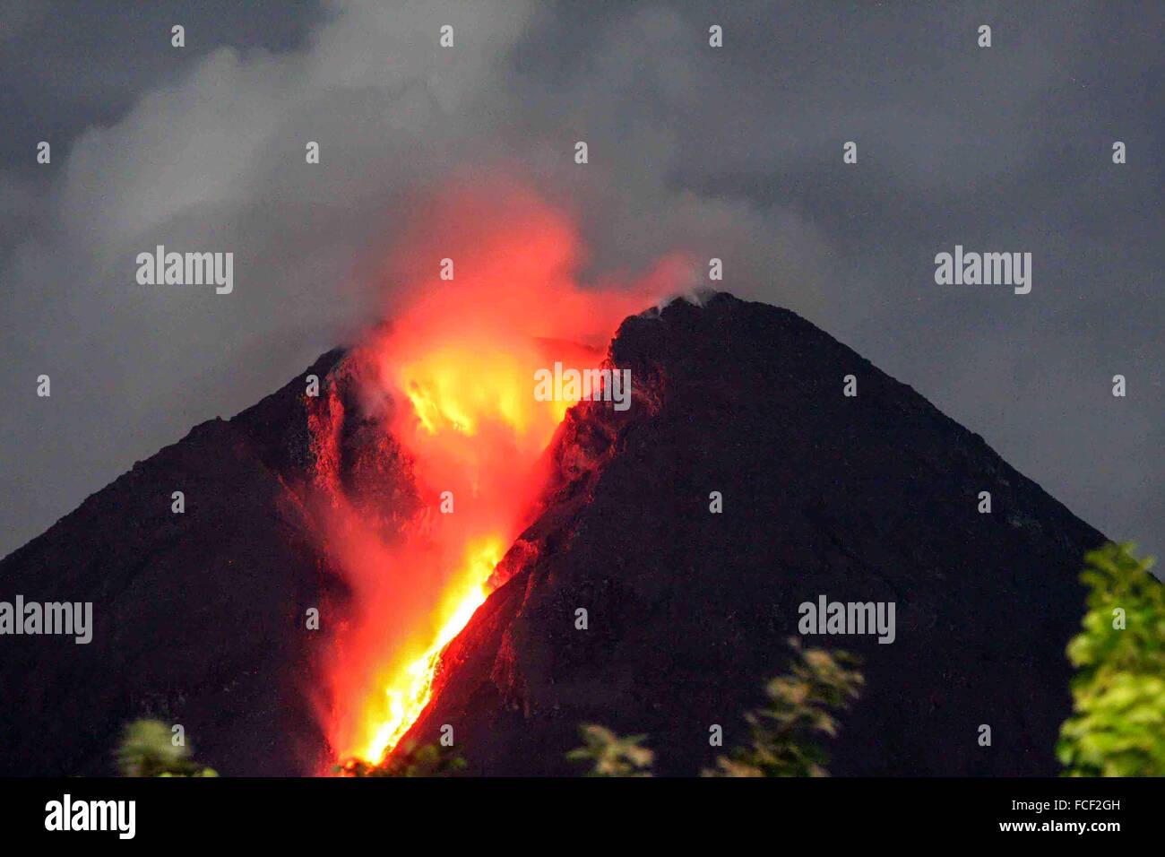 Mount Merapi Eruption Seen From Deles Village, Klaten, Java, Indonesia - Stock Image