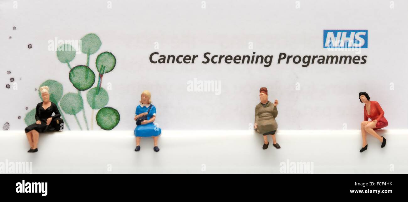 NHS cancer screening programmes leaflet close up with miniature female figurines sitting underneath waiting - Stock Image