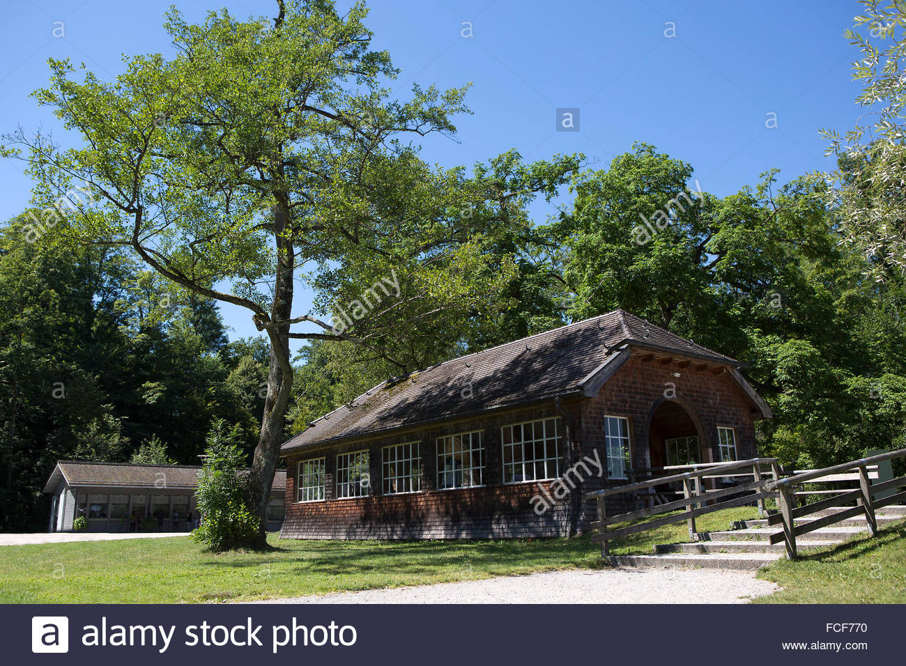 Entrance of the isle of Frauenchiemsee in Bavaria, Germany in summertime Stock Photo