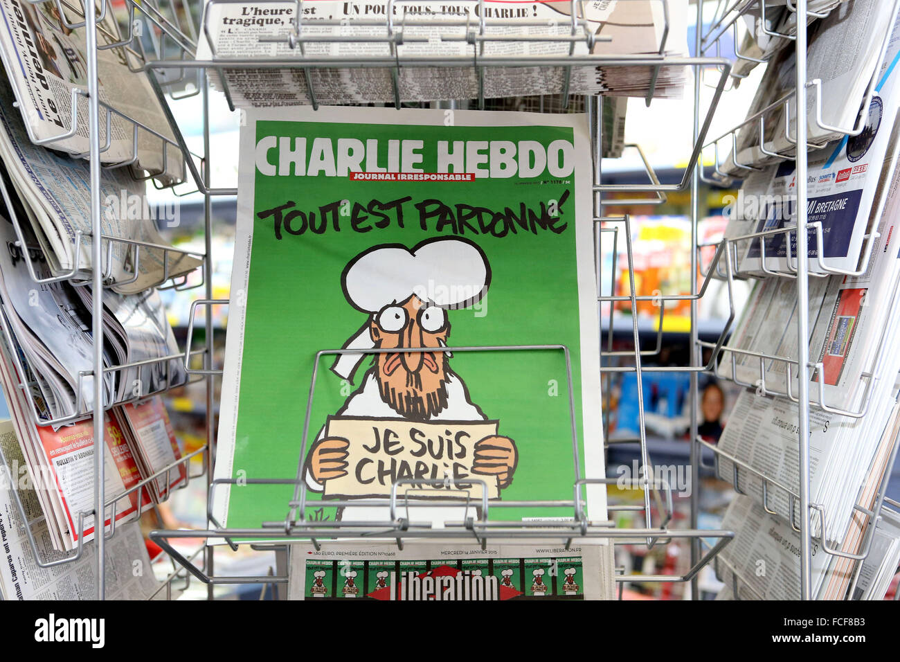 Rennes (Brittany, north-western France): Release of the French satirical magazine Charlie Hebdo N°1178 (2015/01/14) Stock Photo