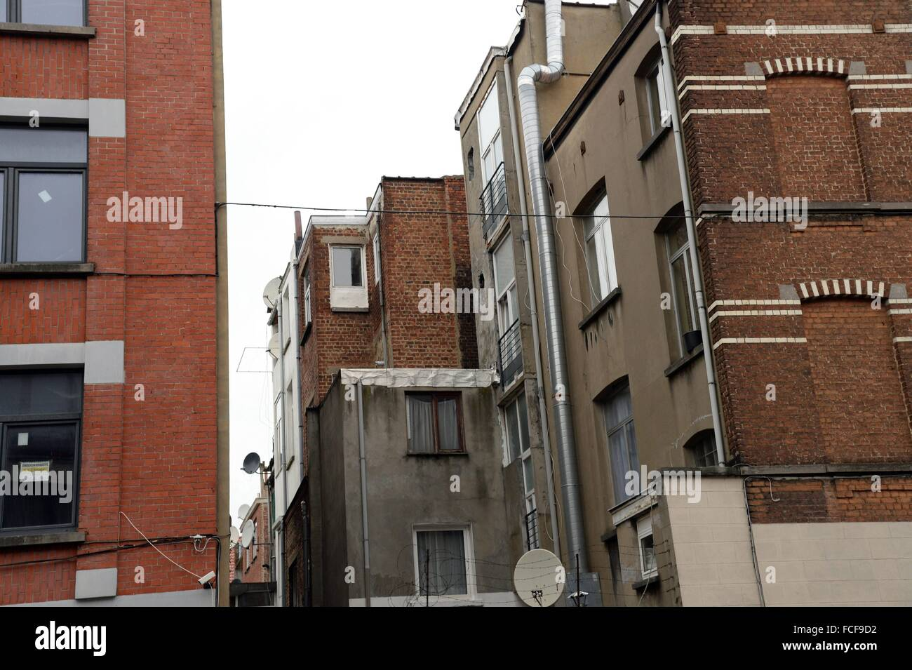 street scene in Brussels Molenbeek, Jan. 9, 2016. - Stock Image