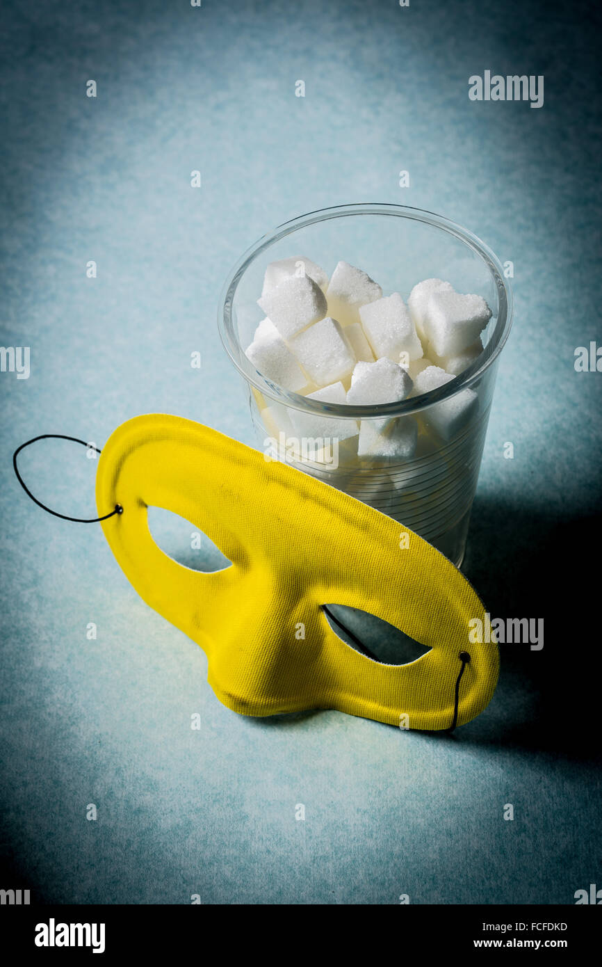 Conceptual image about the hidden sugars in foods and beverages. - Stock Image