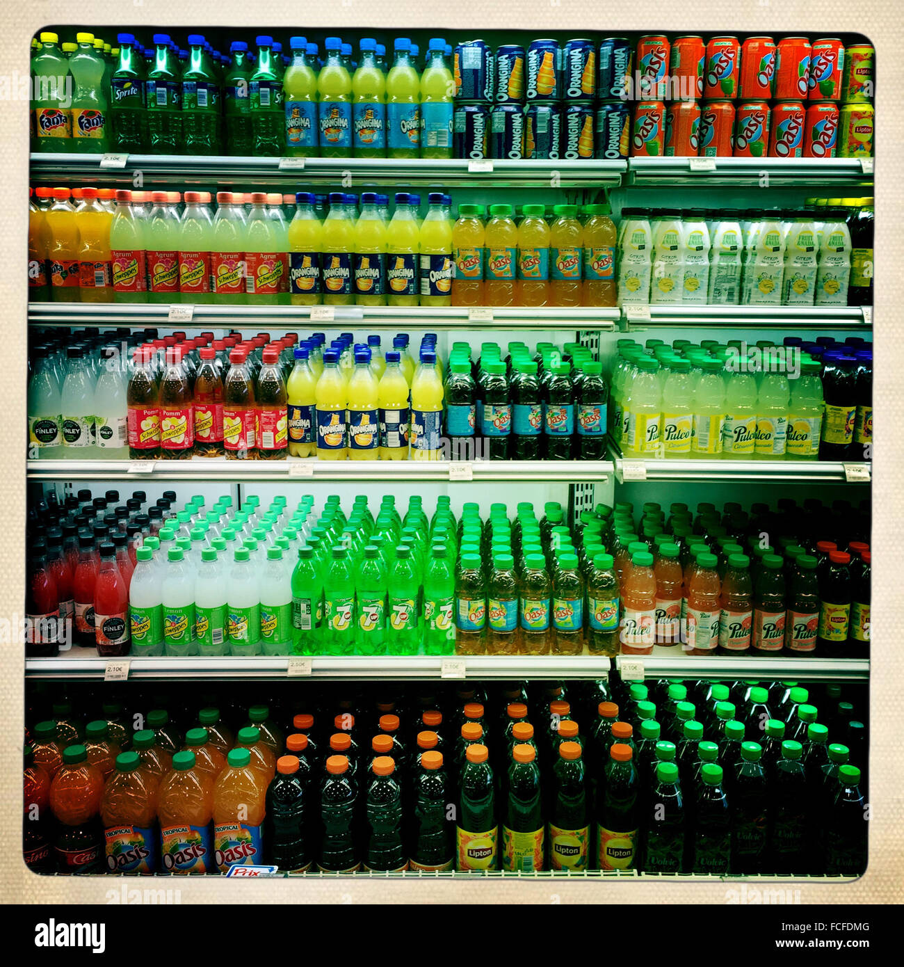 Sodas in a supermarket. - Stock Image