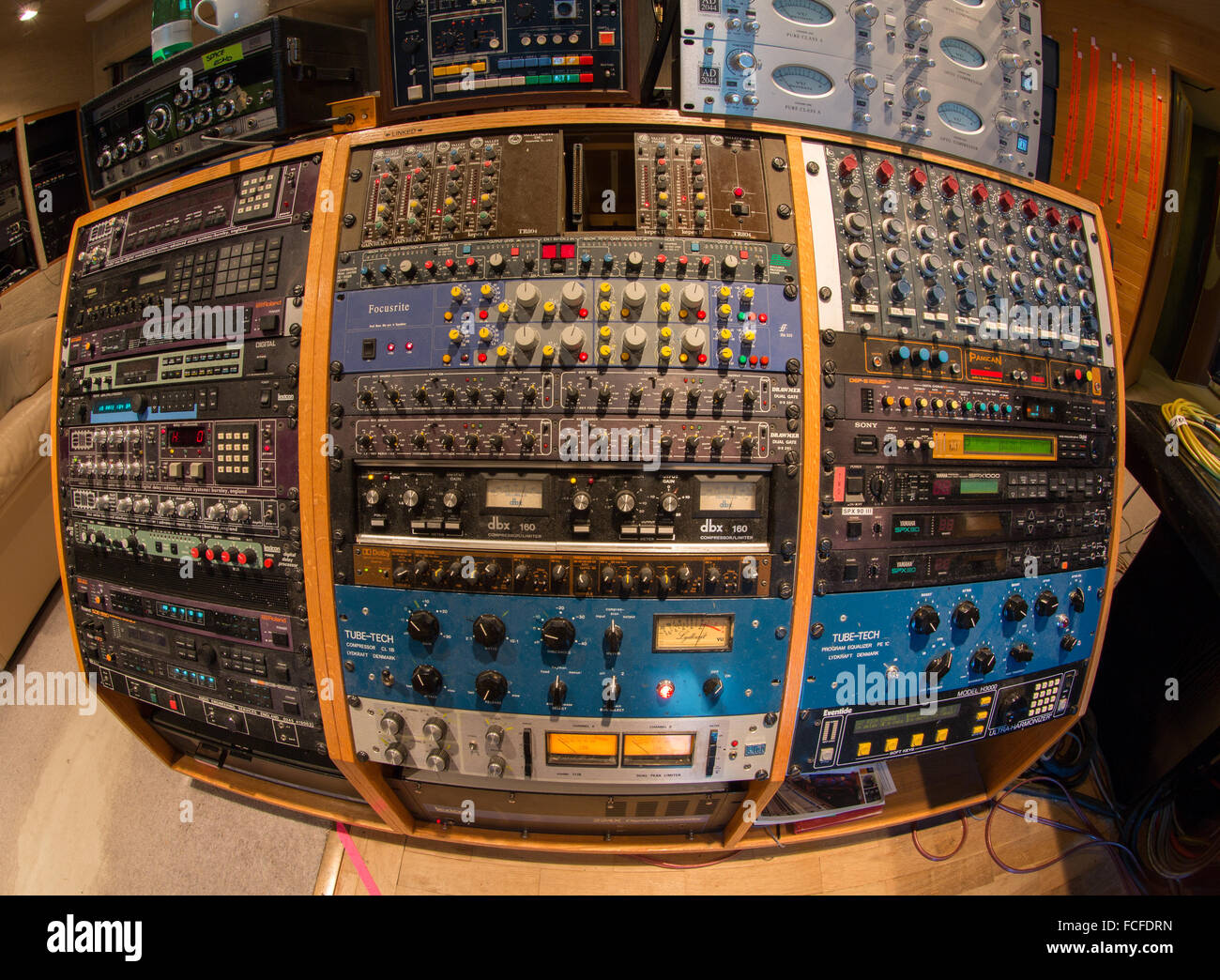 music recording studio effects rack, equalizers, compressors, digital delays, digital effects processors, harmonizers Stock Photo