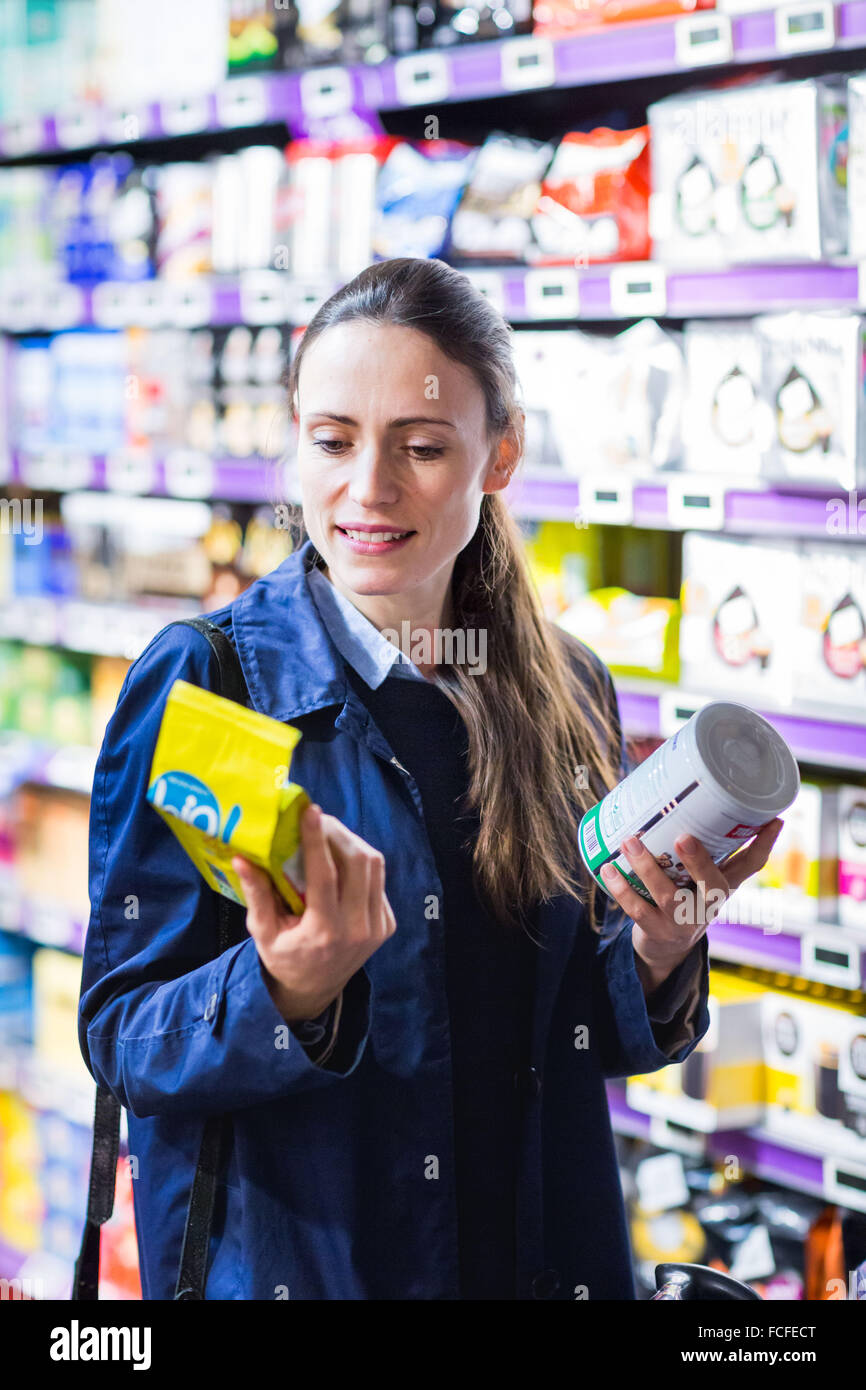 Fair trade section in supermarket. - Stock Image