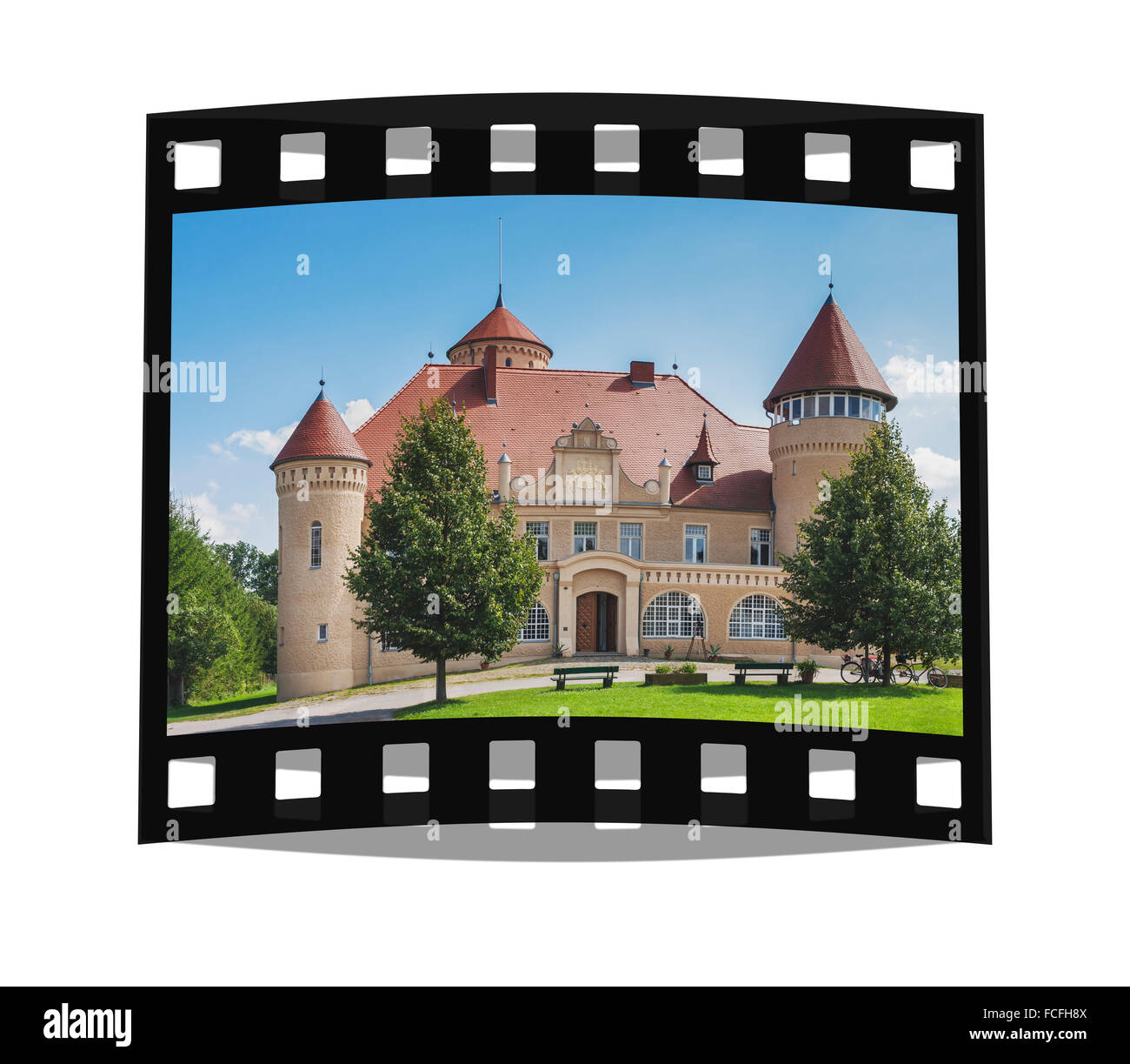 Mansion Stolpe Castle, Usedom Island, County Vorpommern-Greifswald, Mecklenburg-Western Pomerania, Germany, Europe - Stock Image