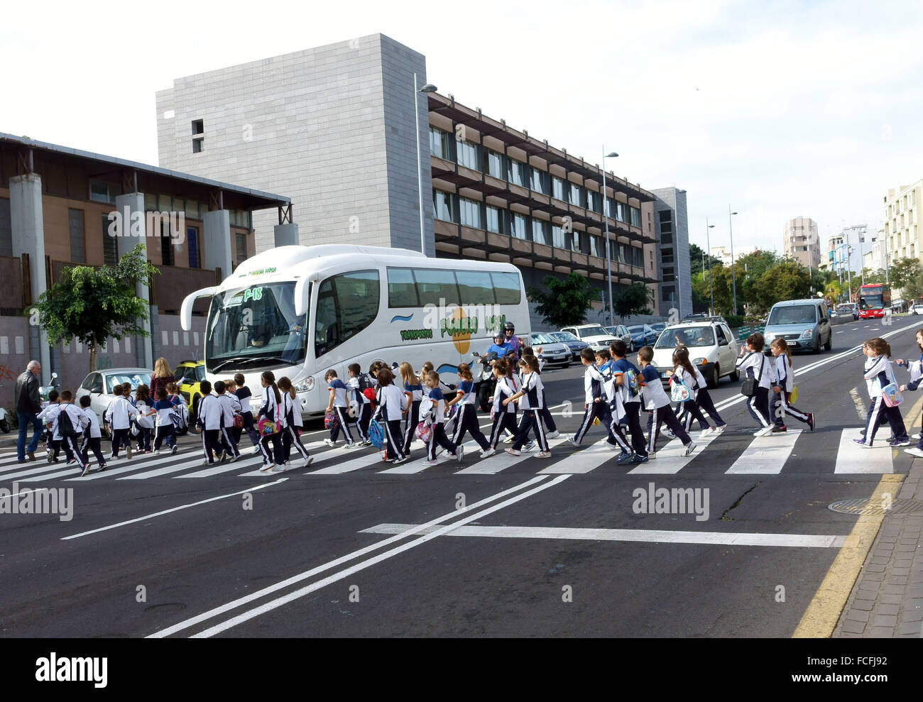 Schoolchildren cross road to waiting coach in Santa Cruz de Tenerife, Canary Islands, Spain - Stock Image