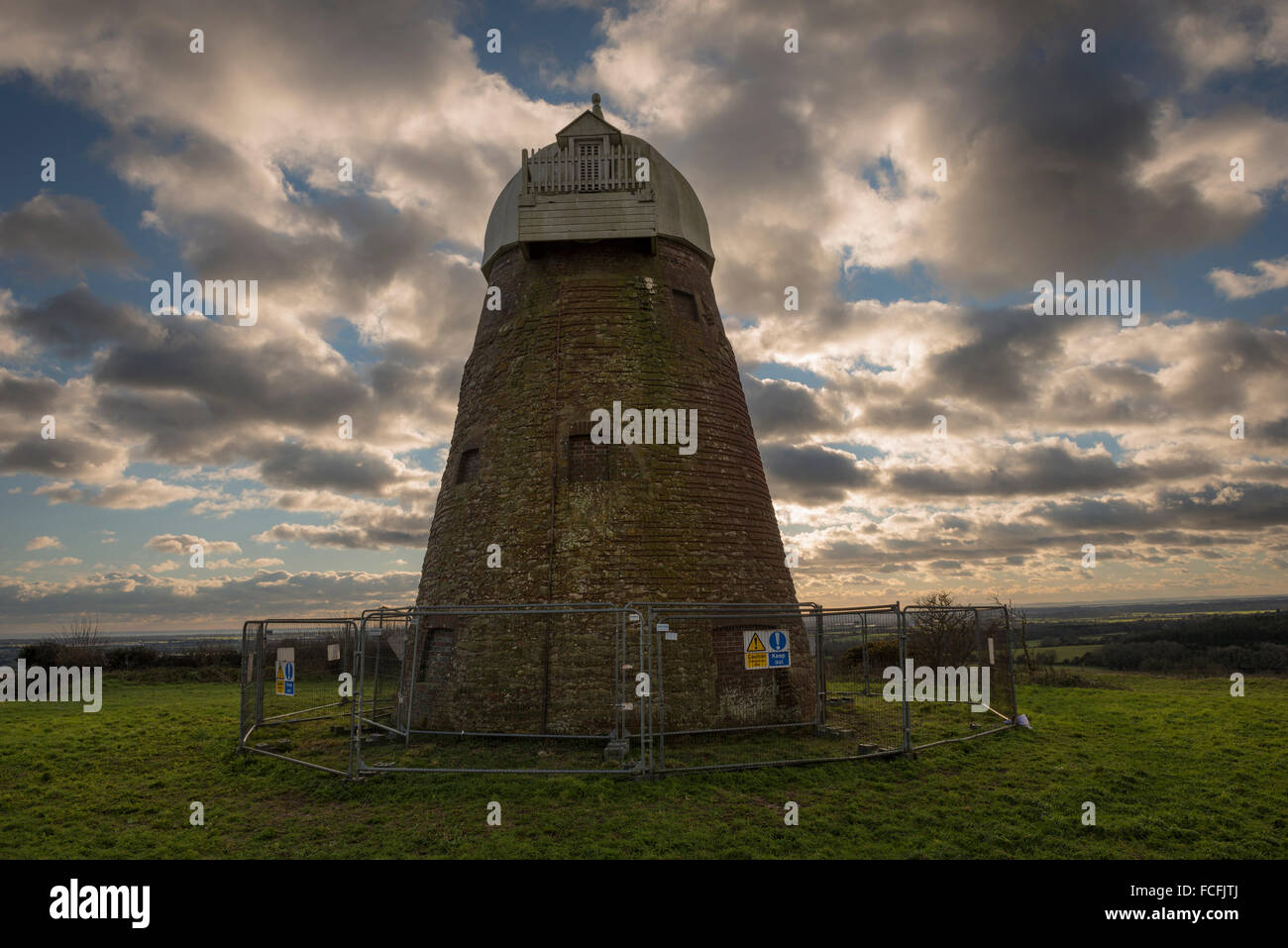 18th Century wind mill on Halnaker Hill near Chichester, West Sussex, UK - Stock Image