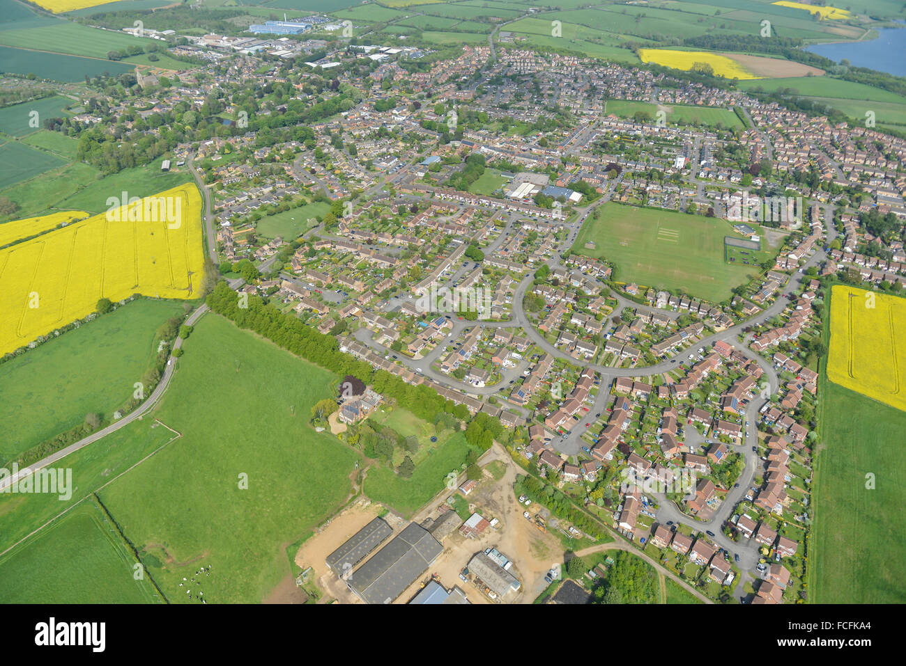 An aerial view of the Northamptonshire village of Brixworth - Stock Image