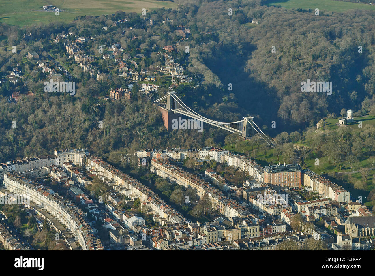 An aerial view of the Clifton Suspension Bridge and surroundings - Stock Image