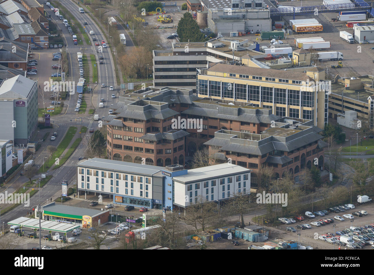 A low-angled aerial view of industrial units and offices in Borehamwood, Herts - Stock Image