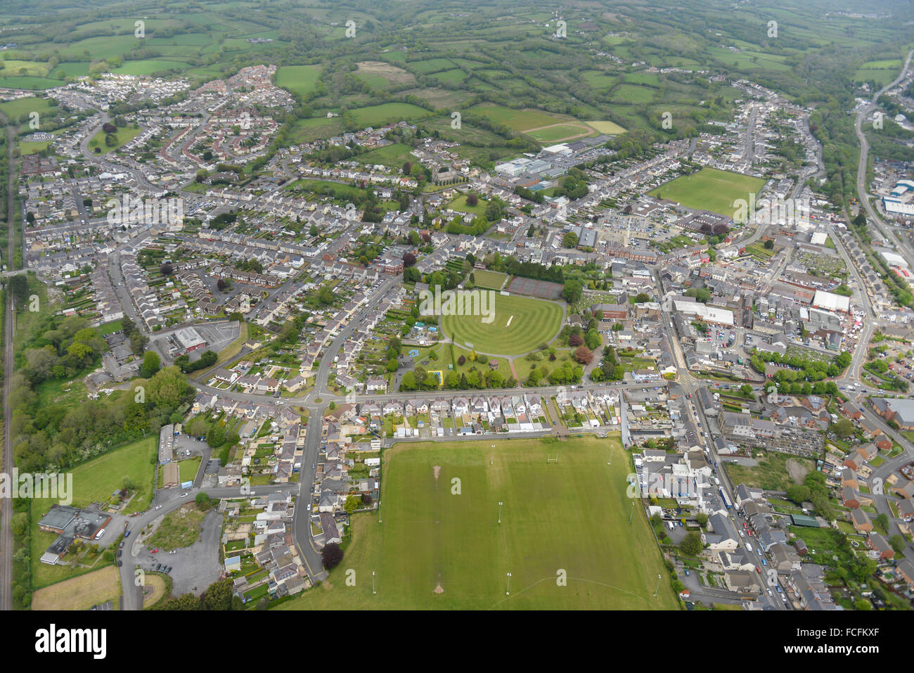 An aerial view of Ammanford a town in Carmarthenshire, Wales - Stock Image
