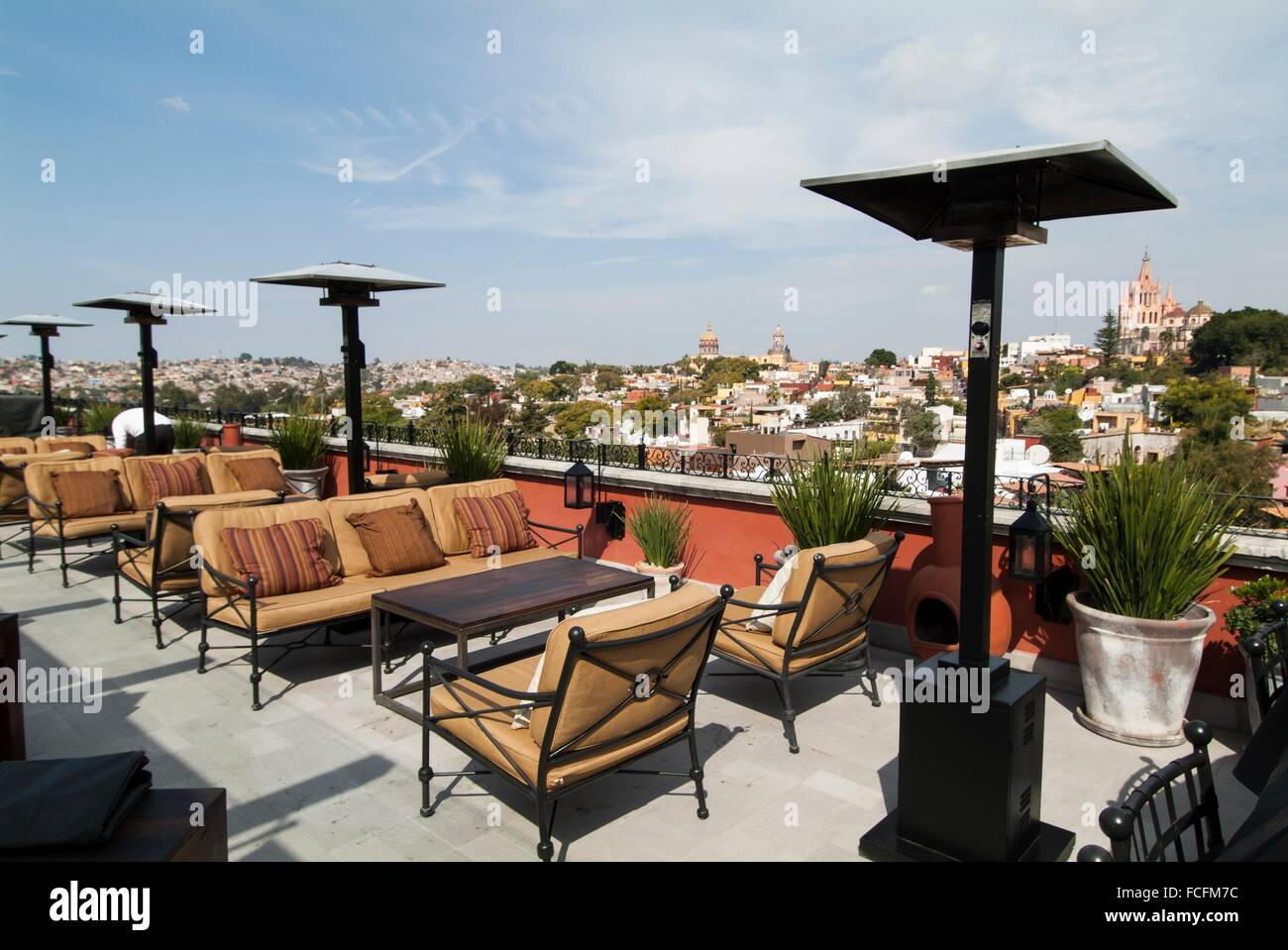 Roof Terrace At The Rosewood Hotel In San Miguel De Allende Mexico Stock Photo Alamy
