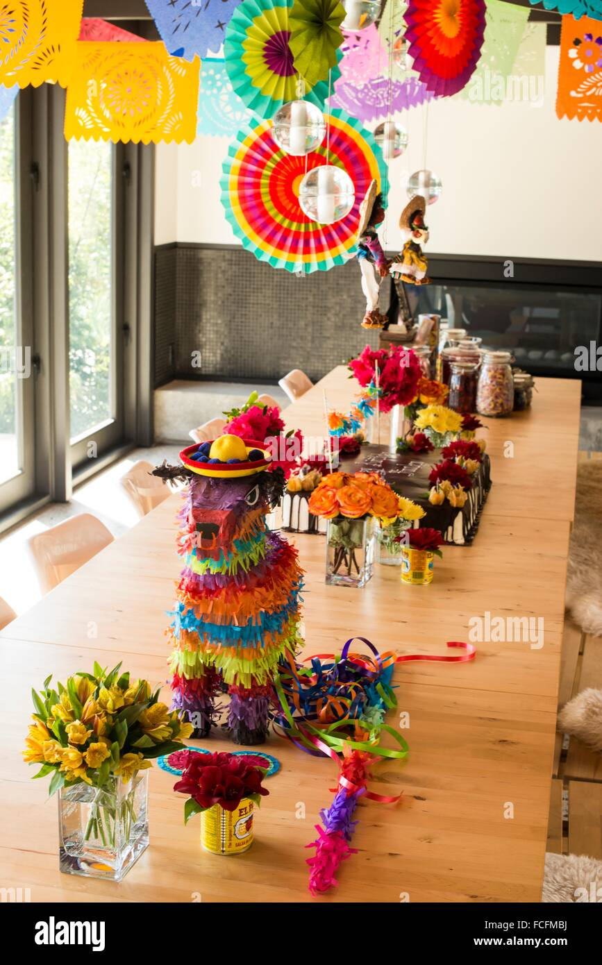 Mexican Theme Party Decorations In A Dining Room Of A House