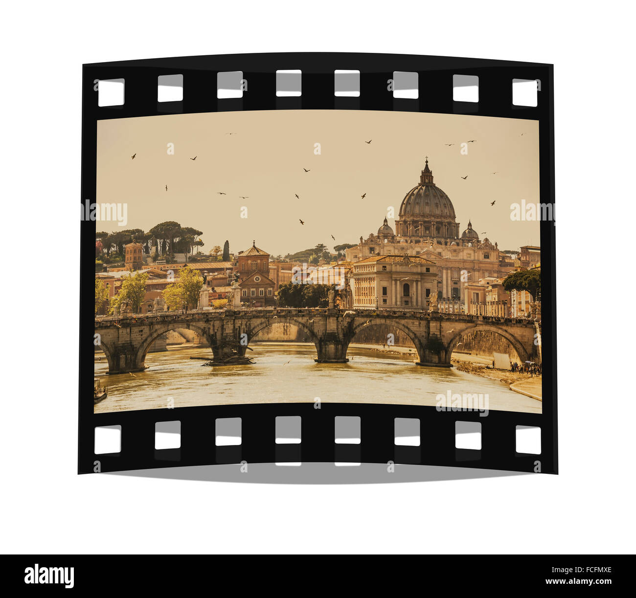 View over the Tiber river to the Vatican with the dome of St. Peter's Basilica, Vatican City State, Rome, Lazio, - Stock Image
