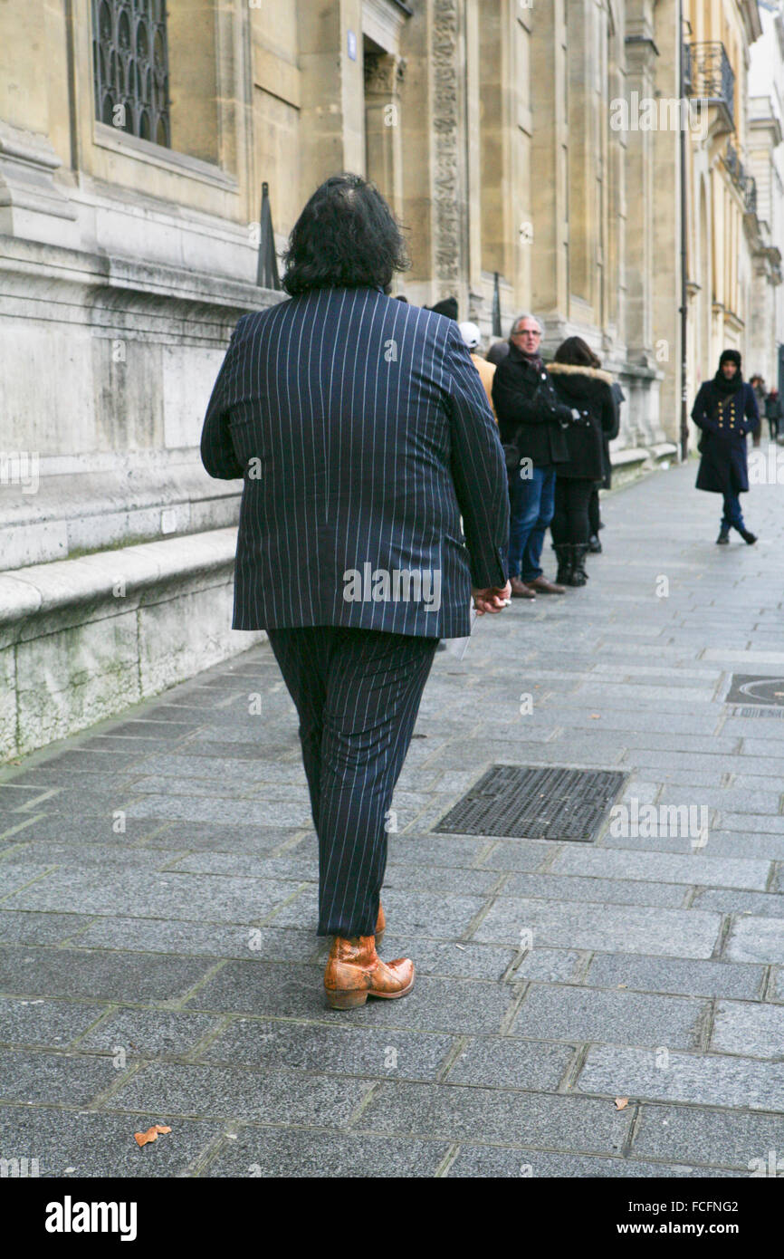 Paris, France. 22nd January, 2016. Guest arriving to  Mihara Yasuhiro men's ready to wear fashion show,FW16/17,Paris - Stock Image