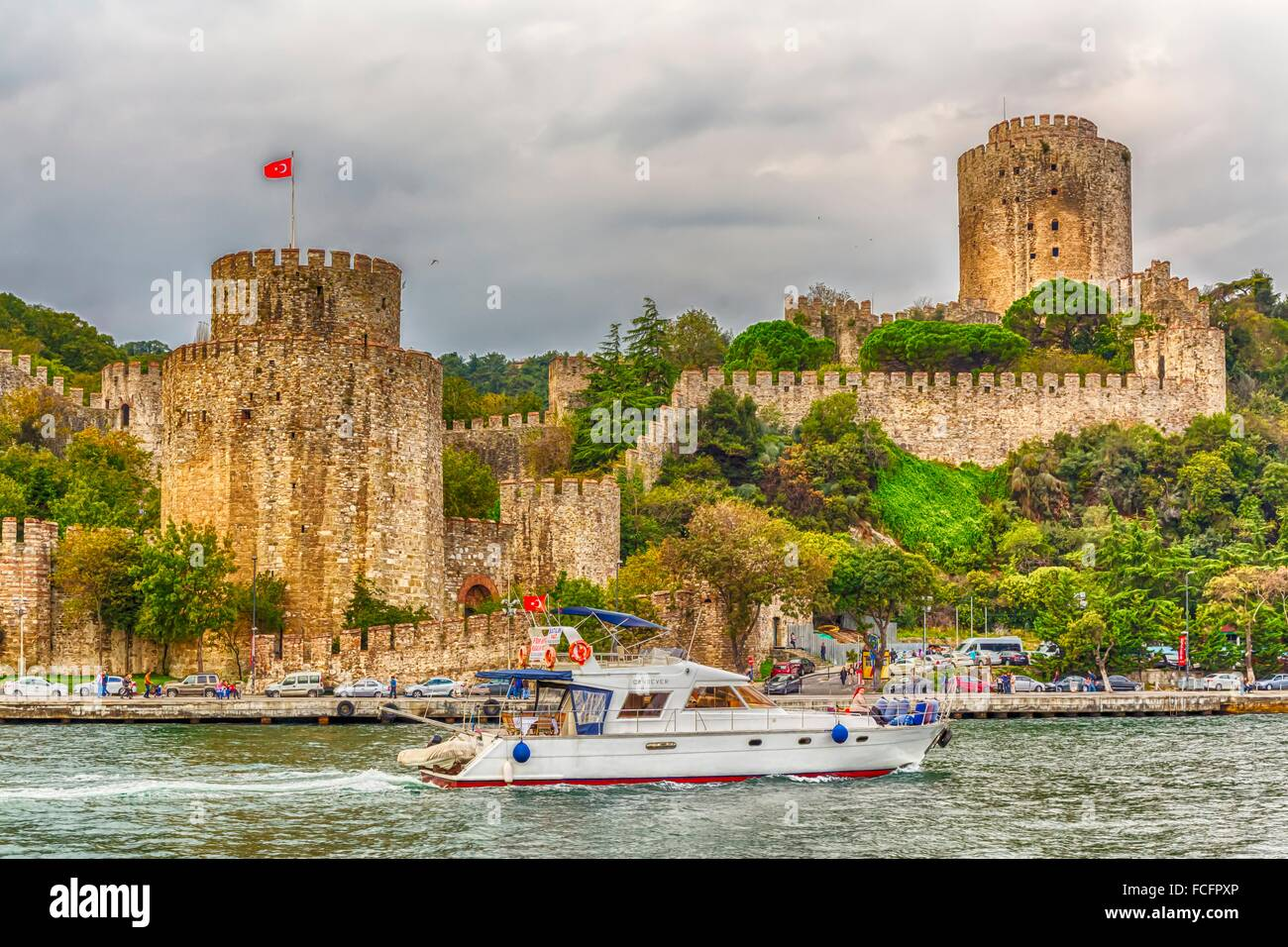 The Rumelihisar Castle along the Bosphorus near Istanbul, Turkey. Stock Photo