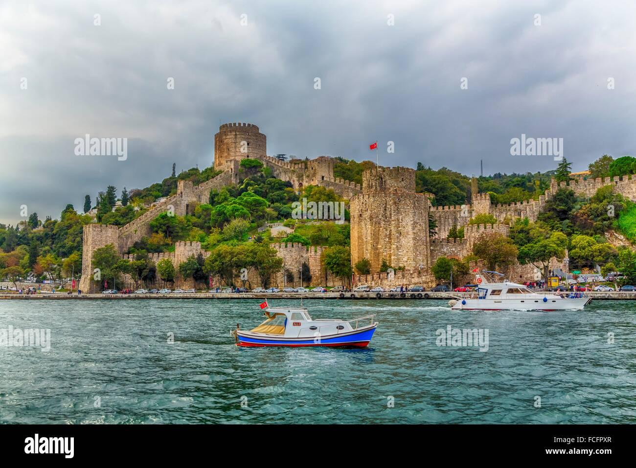 The Rumelihisar Castle along the Bosphorus near Istanbul, Turkey. Stock Photo