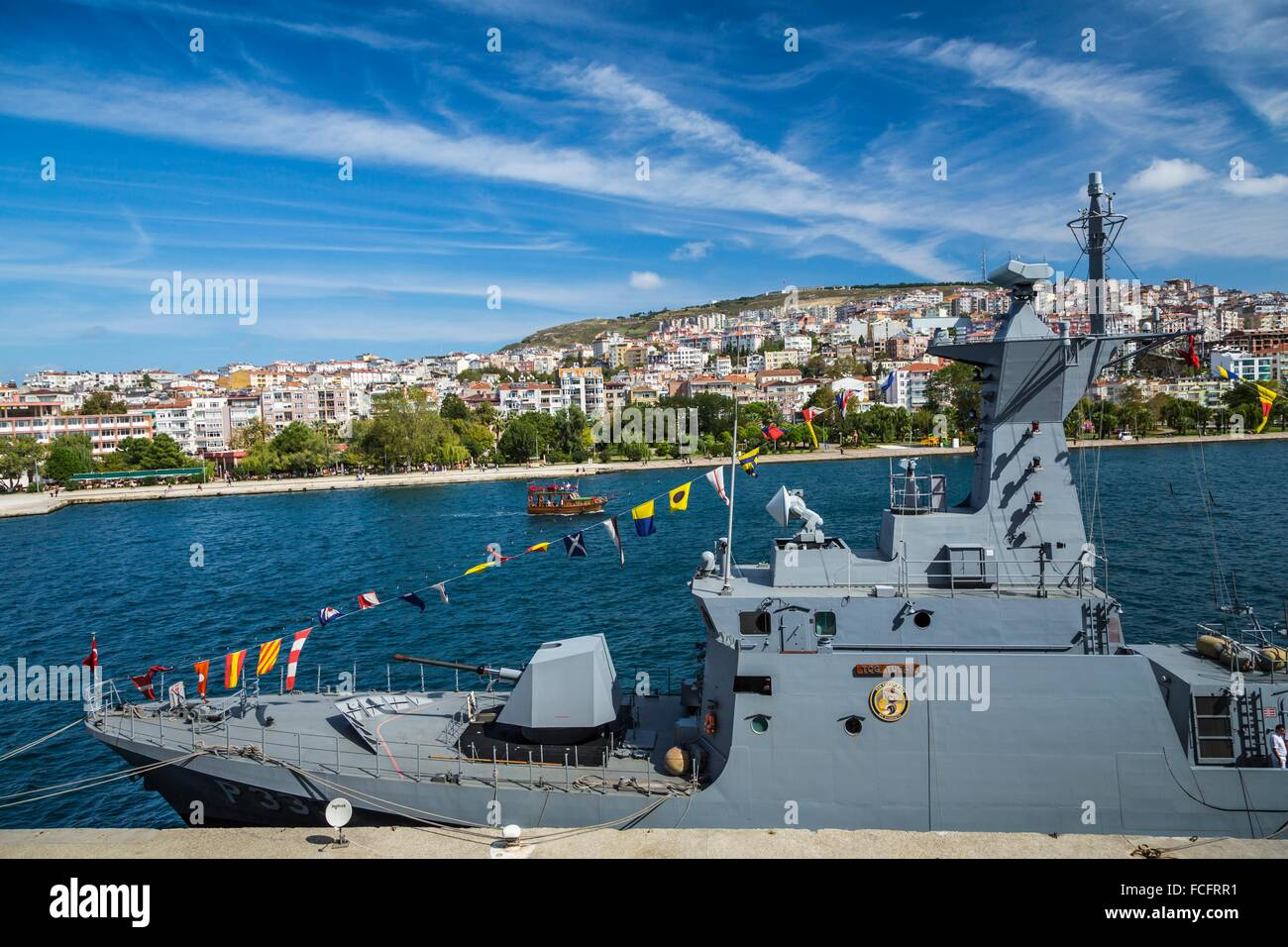 A Turkish military vessel in the Black Sea port city of Sinop, Turkey. - Stock Image