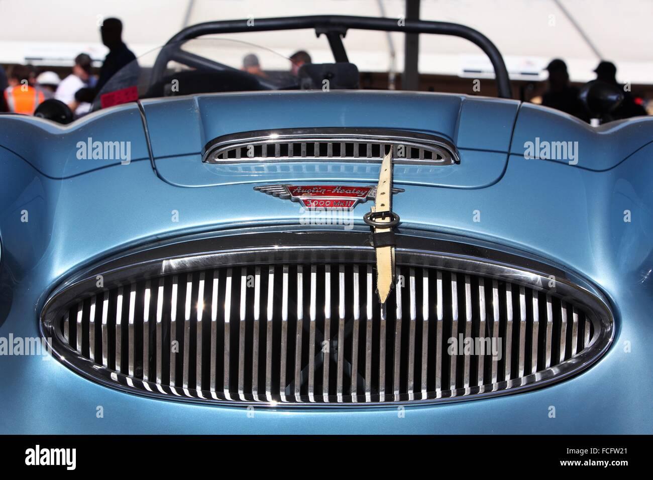 Detail of classic race car Austin Healy 3000 MkII. Melbourne, Australia. - Stock Image