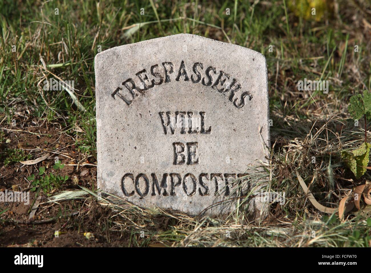 Trespassers will be composted funny warning sign