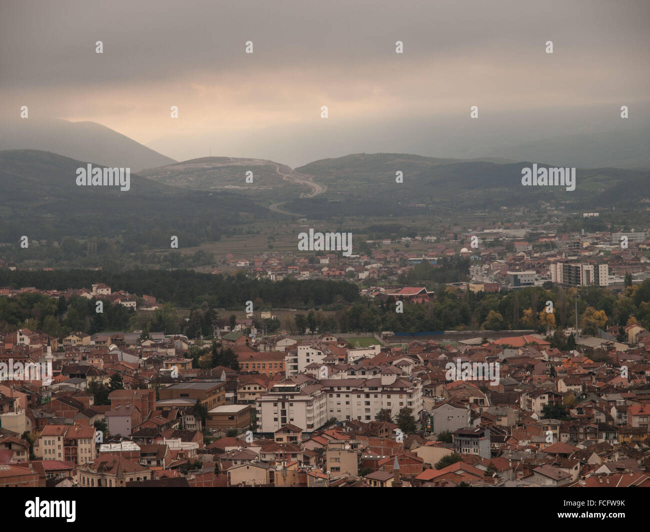 Aerial view of Prizren, Kosovo, Europe at sunset. - Stock Image