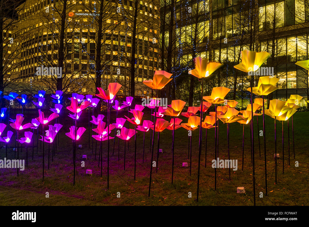winter lights festival art installation by aether hemera at canary