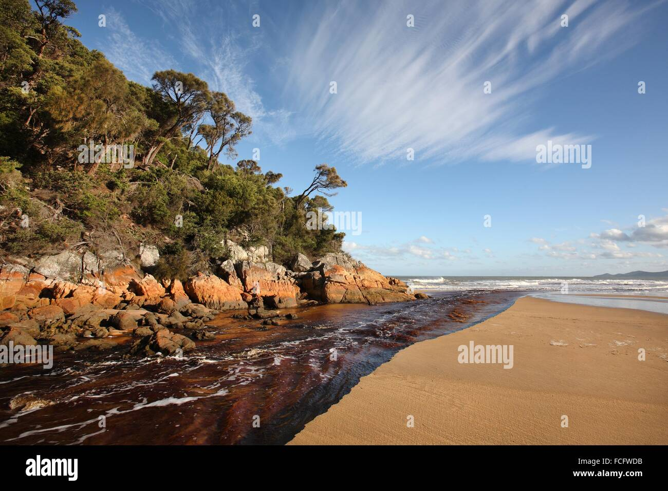 River with tannin colored water at Five Mile Beach. Wilsons Promontory National Park. Victoria, Australia. Stock Photo